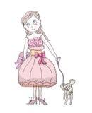 Beautiful elegant girl with her dog Royalty Free Stock Image