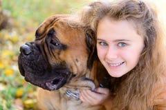 Girl and dog Royalty Free Stock Image