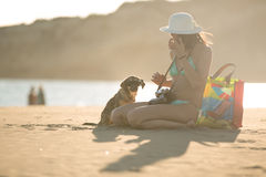 Girl and dog having fun on seaside.Cute neglected stay dog adopted by caring woman.Dog wearing sunglasses.Funny animal. Young woman playing with dog pet on Royalty Free Stock Photos
