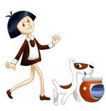 Girl dog helmet clipart cartoon style  illustration white Stock Image