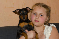 Girl with a dog Royalty Free Stock Images