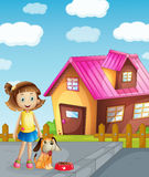 Girl, dog and house. Illustration of a girl, dog and house in a beautiful nature Royalty Free Stock Images