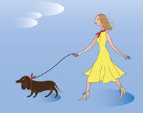 The girl with the dog. Royalty Free Stock Photos