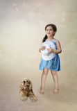 Girl with dog and kite Stock Images