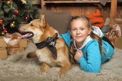 Girl and dog lie close Royalty Free Stock Photography