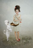 The girl and the dog Royalty Free Stock Photography