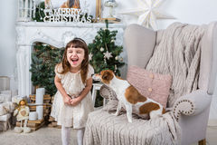 Girl with dog Stock Photography