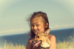 girl with a dog Royalty Free Stock Photography