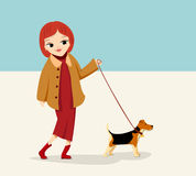 Girl with dog. Girl with little dog. Pet Stock Photography