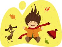 Girl with a dog lying on the autumn grass royalty free illustration