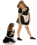 Girl and dog maids Royalty Free Stock Photos