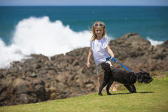 Girl with Dog at Ocean Stock Photos