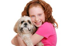 Girl and dog over white Stock Photos