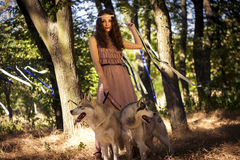 Girl with dog. In park Stock Image
