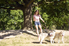 Girl with dog. In park Royalty Free Stock Photos