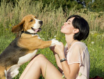 Girl with a dog in the park. Girl with a dog wolking in the park Royalty Free Stock Photo