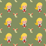 Girl and dog pattern Stock Photography