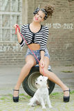Girl with dog. Pin-up model with miniature schnauzer Stock Photo