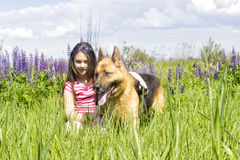 Girl and dog Stock Photo