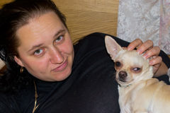 Girl with dog. Portrait of a girl with a dog Chihuahua Royalty Free Stock Photos