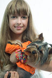 Girl with the dog Stock Image