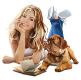 Girl and dog reading book. S watercolor painting Stock Photo