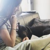 Girl and Dog Relaxing. A teen girl sharing a relaxing moment with her dog in a sunny room Royalty Free Stock Image