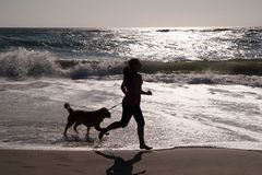 Girl and dog running on beach. Girl and her dog playing on beach Royalty Free Stock Image