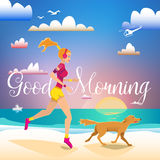 Girl and dog running on the beach in the morning Stock Images