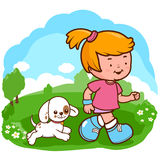 Girl and dog running at the park Royalty Free Stock Photo