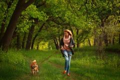 Girl and dog Shiba Inu run. Stock Photo