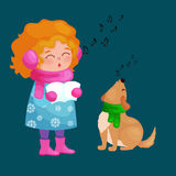 Girl and dog singing christmas songs and jingle bells music on winter holiday fun  Royalty Free Stock Photo