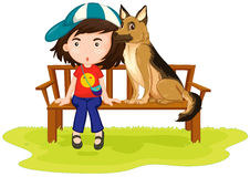 Girl and dog sitting in the park Royalty Free Stock Image