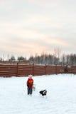 Girl and dog sledding in backyard Royalty Free Stock Photos