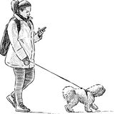 Girl and dog on a stroll. Vector drawing of a woman with her pet on a walk vector illustration