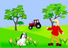 Girl, Dog and Tractor Royalty Free Stock Image