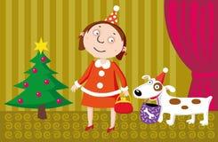 The girl and dog. Vector. The girl and dog on Christmas Royalty Free Stock Image