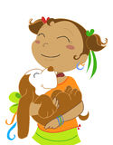 Girl with dog-vectorial illustration Royalty Free Stock Images