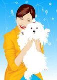 Girl with dog-vectorial illustration Stock Image