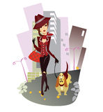 Girl with the dog on walk. Vector animated  illustration of the lady with the doggie on walk Royalty Free Stock Photos