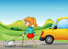 A girl with a dog walking along the street Royalty Free Stock Images