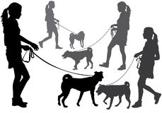 Girl with a dog. Girl walking with a dog on a leash. Silhouette on a white background Royalty Free Stock Photography