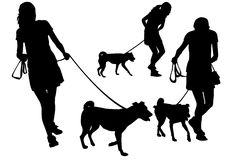 Girl with a dog. Girl walking with a dog on a leash. Silhouette on a white background Stock Images