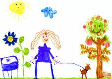 Girl and dog walking on meadow, child drawing Royalty Free Stock Image