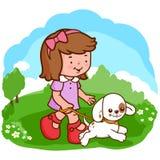 Girl and dog walking at the park royalty free illustration