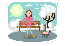 Girl with dog. Girl walking a dog in the winter and listening to music, vector illustration royalty free illustration