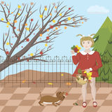 Girl with dog. A girl walks with a dog in an autumn park, collects mushrooms and colorful leaves, vector illustration Royalty Free Stock Images