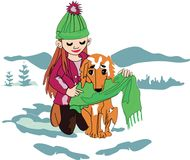 A girl with a dog in the winter. stock illustration
