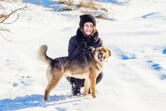 Girl with a dog in the winter on a walk. Girl and dog against the background of white snow_ royalty free stock image