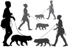 Girl with a dog. A woman walking with a dog on a leash. Silhouette on a white background Stock Photo